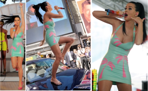 Katy Perry Rubber dress in times square, I kissed a girl, katy perry fitness